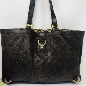 Preowned Authentic GG Brown Gucci Tote